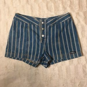 EUC Vintage {Bongo}striped denim button fly shorts